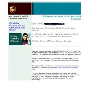 gefakte E-Mail angeblich von UPS mit Trojaner