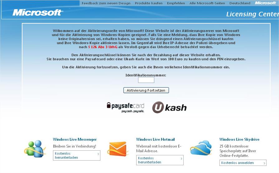 gesperrte Windows Lizenz weitere Varianten, Ransomware