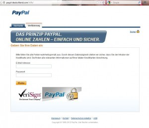 Paypal Phishing Webseite