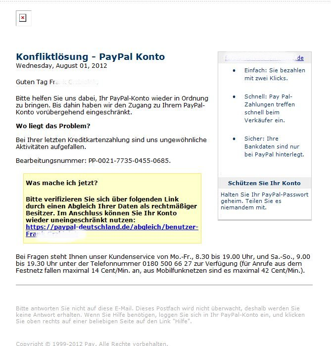 paypal phishing mail unterwegs. Black Bedroom Furniture Sets. Home Design Ideas
