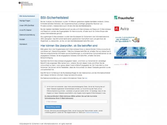 BSI Testseite zum Überprüfen des E-Mail-Accounts