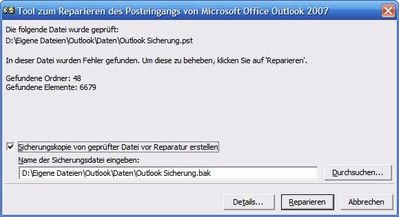 Scanpst Fehler in Outlook PST Datei gefunden