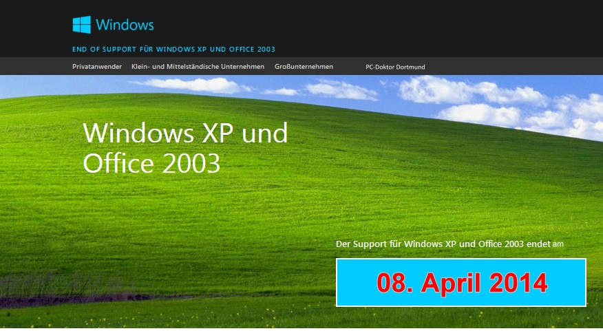 Windows XP läuft am 08 April 2014 aus
