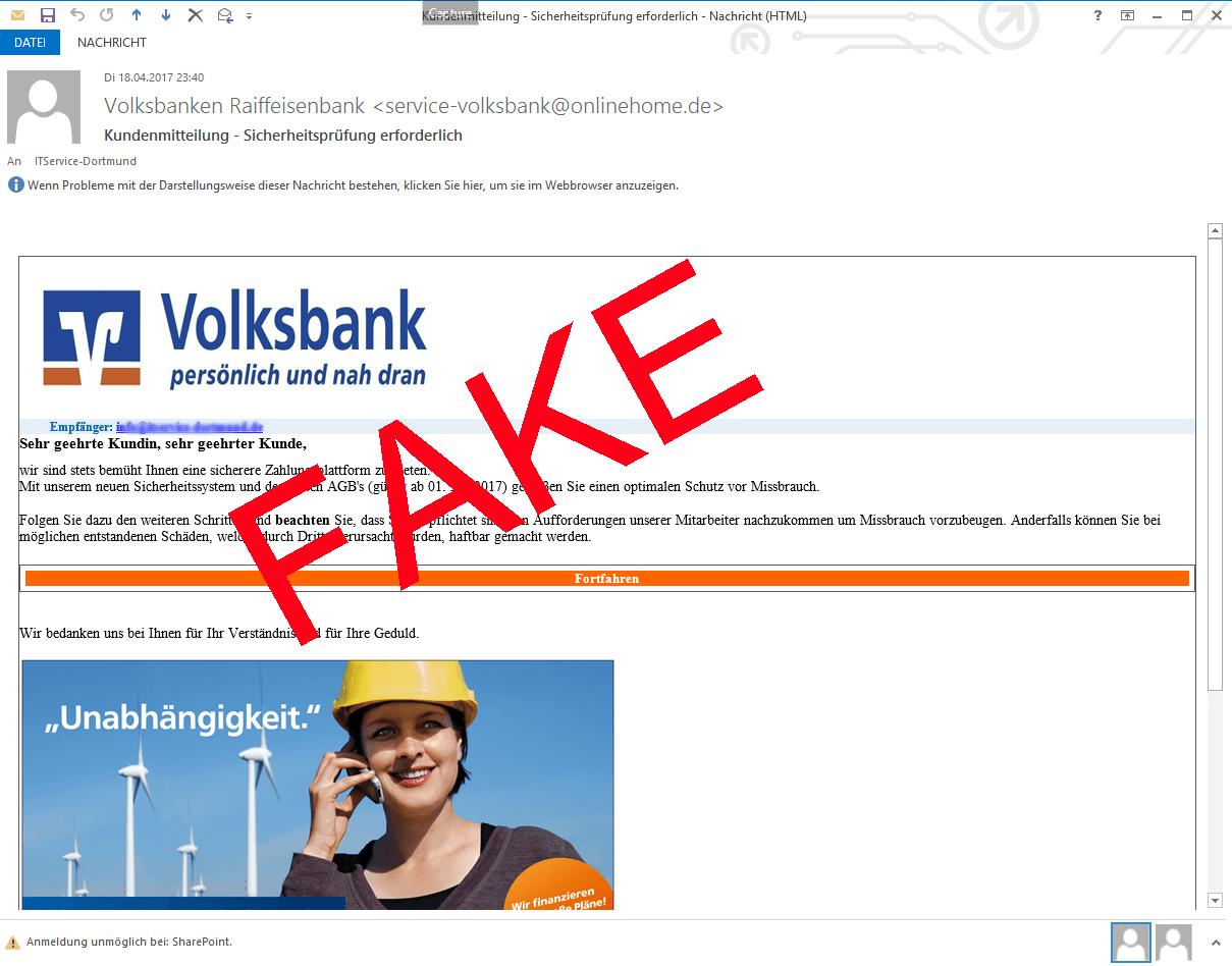 aktuelle Fake Mails (gefälschte E-Mail Nachrichten)