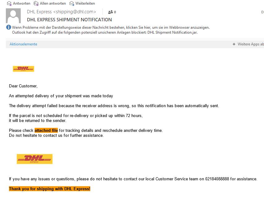 DHL Paketankündigung – Virus Lieferung inklusive